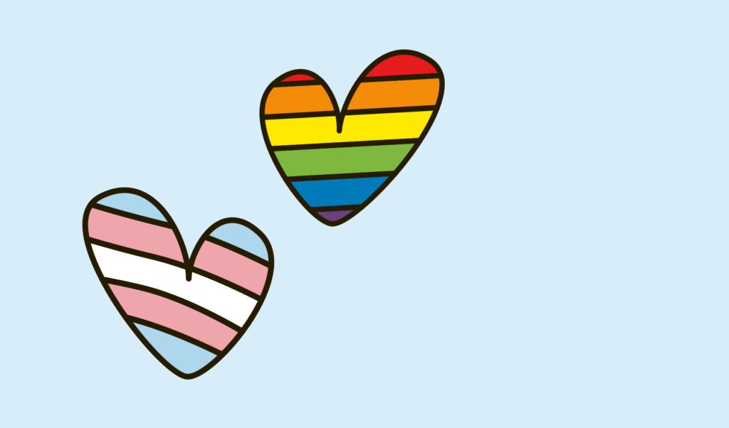 Två illustrerade hjärtan, ett i transflaggans färger (blå, rosa och vit) och ett i regnbågens färger