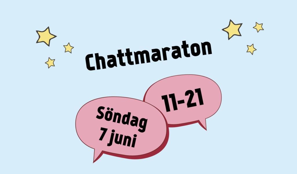 """Texten """"Chattmaraton. Söndag 7 juni. 11-21"""". Illustrerade pratbubblor och stjärnor."""