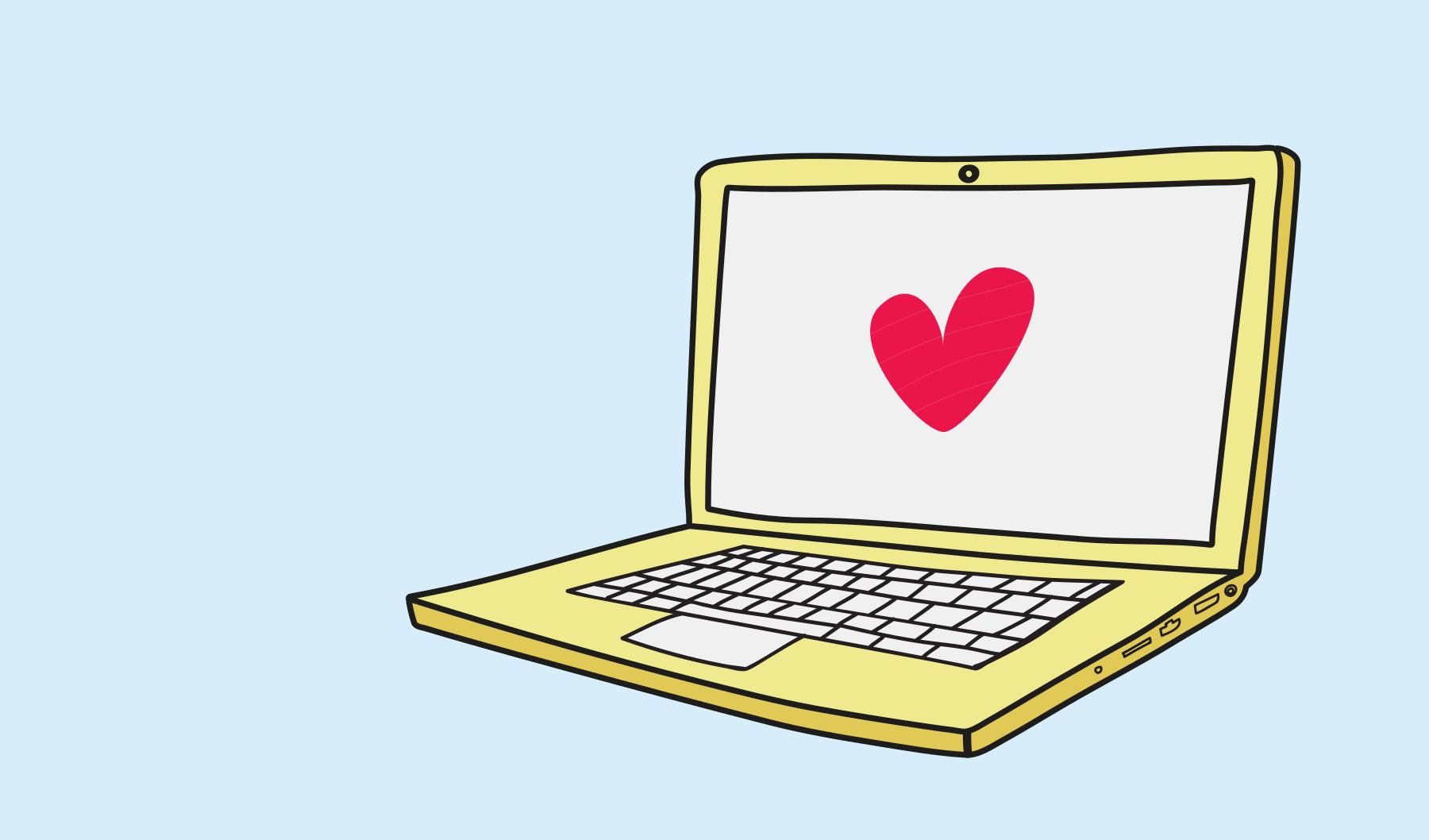 Illustrerad bild på en gul laptop som har ett rött hjärta på skärmen.